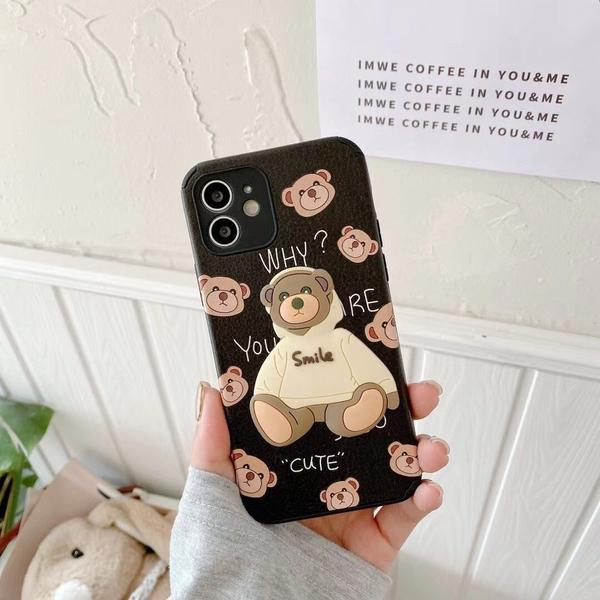 帽T小熊 iPhone SE2 XS Max XR i7 i8 plus 浮雕手機殼 立體卡通 保護鏡頭 全包蠶絲 四角加厚 防摔軟殼