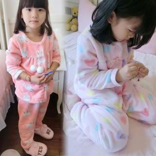 家居服。韓版愛心小兔法蘭絨長袖上衣+長褲睡衣兩件組 / 居家服 *繪米熊童裝* (AQ81010)