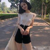夏裝新品甜美氣質蕾絲拼接鏤空鉤花針織衫上衣純色修身打底衫女潮『韓女王』