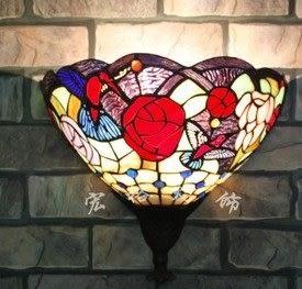 設計師美術精品館歐式田園花鳥壁燈床頭燈臥室客廳墻燈書房酒吧走廊蒂凡尼玻璃燈飾