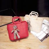 單肩包 2019夏季新款女包韓版時尚手提包復古潮小熊斜挎大包 LJ2965『紅袖伊人』