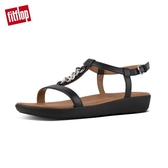 【FitFlop】LANA CHAIN LEATHER BACK-STRAP SANDALS率性金屬鍊條後帶涼鞋(黑色)