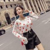 2018夏季新款韓版薄款波點冰絲針織防曬長袖上衣高腰闊腿短褲套裝