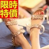 涼鞋-低跟浪漫透氣休閒夏季皮革女休閒鞋2色54l76【巴黎精品】