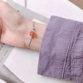 新品 s925銀草莓晶圓珠手鍊簡約個性小清新森系學生韓版小眾設計配飾女