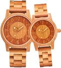 shifenmei【日本代購】復古懷舊木錶 情侶手錶 男女對錶 圓形字母 一對S5557-03