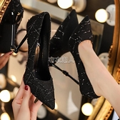 新款法式小高跟黑色高跟鞋女春女鞋細跟百搭網紅工作單鞋女 快速出貨