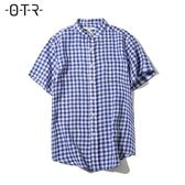 男裝夏季舒適透氣 亞麻休閒正裝 中格紋 小立領短袖襯衫男襯衣    非凡小鋪