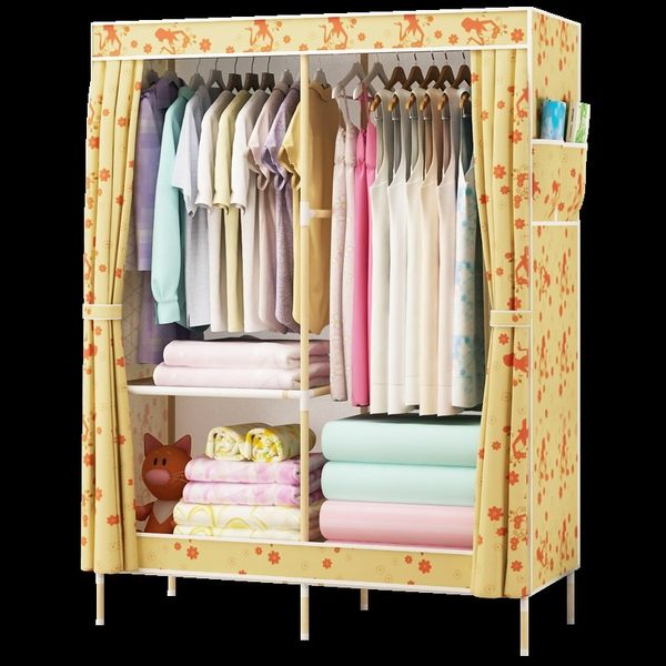 100cm寬大號雙人實木架防水牛津布衣櫃簡易加厚布藝木質木頭木制 青木鋪子