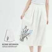 【南紡購物中心】KOMI-棉繡花鬆緊口袋長裙‧有裡