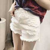 白色牛仔短褲女夏 正韓高腰破洞闊腿寬鬆大碼a字褲 雙11搶先夠