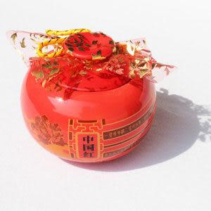 陶瓷中國紅釉茶葉罐