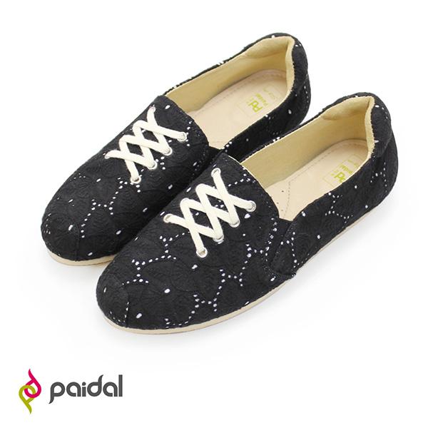 Paidal 修長款假鞋帶休閒鞋懶人鞋樂福鞋-布蕾絲小黑鞋
