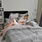 義大利La Belle《爵士風情》加大純棉防蹣抗菌吸濕排汗兩用被床包組