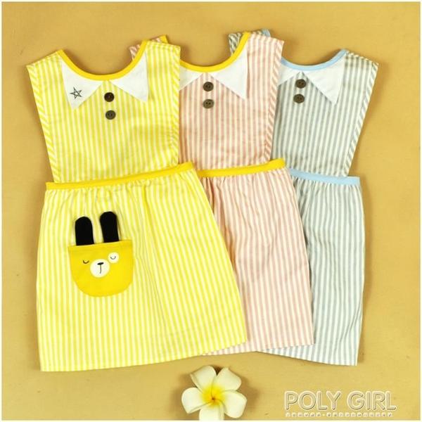 女童圍裙寶寶反穿衣兒童罩衣無袖防水男童吃飯衣大碼春夏1-3歲 polygirl