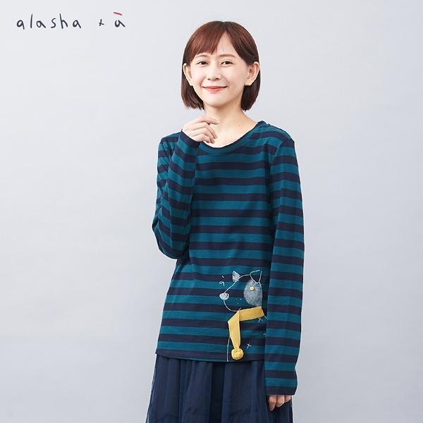 a la sha+a 狗狗線條立體圍巾上衣