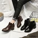 潮流側拉鍊短靴KYK5黑/棕PAPORA...