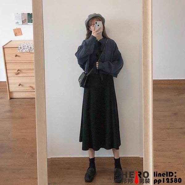 洋裝早春款大碼女裝法式連身裙子兩件式裝夏天顯瘦長裙品牌【邦邦男装】