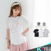 哈韓孕媽咪孕婦裝*【HA5900】正韓製.線條抽象人物燙金T恤