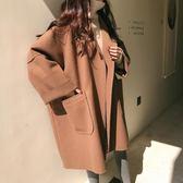 寬鬆oversize廓形毛呢外套女秋冬韓版學生中長款大碼斗篷呢子大衣