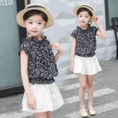 女童套裝 童裝女大童套裝女夏季雪紡全棉短褲時尚女童套裝LJ8533『黑色妹妹』