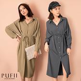 PUFII-洋裝 襯衫式排釦腰綁帶長洋裝-0916 現+預 秋【CP21000】