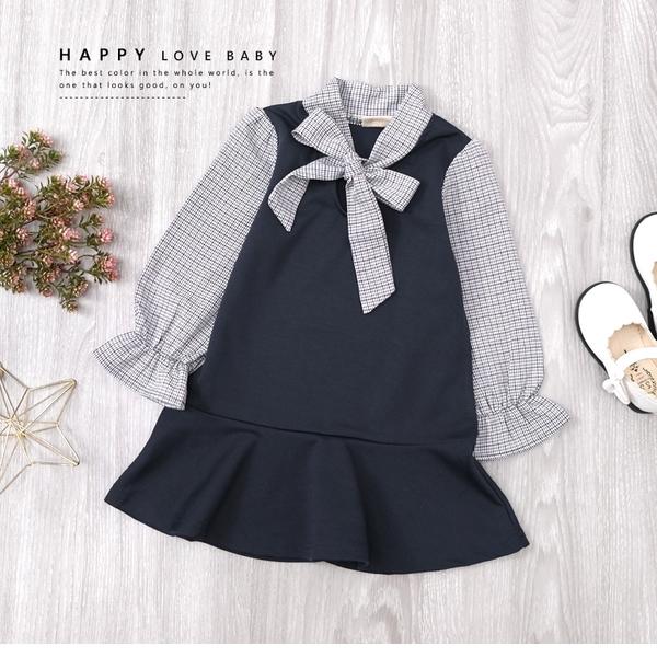 純棉 千鳥格紋綁帶拼接袖連身洋裝 氣質 深藍 公主袖 舒適 學院風 女上衣 女童裝 秋冬長袖