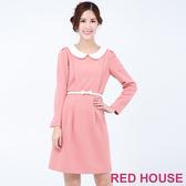 【RED HOUSE 蕾赫斯】小圓領素色裁剪洋裝(粉色)