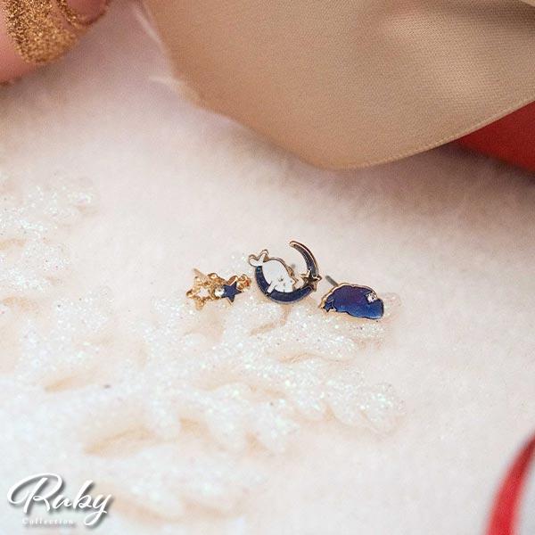 耳環 貓咪月亮雲朵星星耳針/夾式耳環三件組-Ruby s 露比午茶