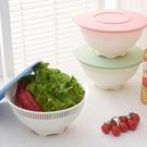 加厚帶蓋瀝水籃 廚房 淘米 水果 蔬菜 清洗 置物 收納 洗菜 輕便 果盤【J226】MY COLOR