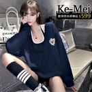 克妹Ke-Mei【ZT64223】網紅慵懶風撩人吊帶背心+V領寬鬆T恤上衣套裝