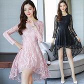 中大尺碼長袖洋裝 女新款女裝時尚小清新不規則燕尾裙秋季長袖蕾絲裙 ZJ4900【大尺碼女王】