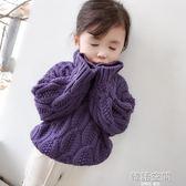 女童毛衣外套2018秋冬新款韓版寶寶針織打底衫中小童高領套頭毛衣
