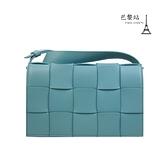 【巴黎站二手名牌專賣店】*現貨*BOTTEGA VENETA BV*Cassette淺藍綠色經典皮革編織卡帶包