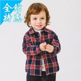 兒童長袖女上衣男童加厚加絨長袖格子棉襯衫秋冬春秋童裝襯衣兒童寶寶小童