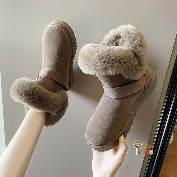 雪靴 短靴女一腳蹬新款冬季短靴百搭加絨保暖加厚學生棉鞋