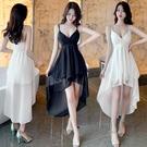 洋裝五折 夏季新款不規則雪紡拼接V領氣質...