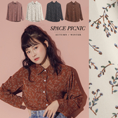 襯衫 Space Picnic|復古碎花雪紡長袖襯衫(現貨)【C19082016】