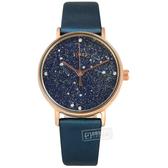 TIMEX 天美時 / TXTW2T87800 / 復刻系列 Swarovski 星座顯示 礦石強化玻璃 真皮手錶 藍x玫瑰金框x藍 37mm