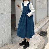 裙子法式復古寬松燈芯絨減齡中長款吊帶背心裙女【聚可愛】【聚可愛】