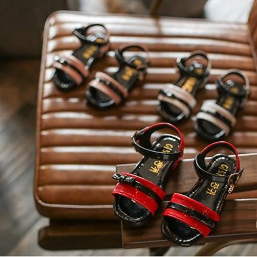 童鞋 涼鞋 雙色撞色搭配 蝴蝶結 魔鬼氈 女童涼鞋 二色 寶貝童衣