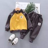男童套裝 寶寶秋裝男童加絨兩件套2021新款洋氣兒童套裝帥氣冬季衣服【快速出貨八折搶購】