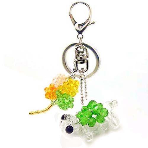 幸運草與烏龜鑰匙圈包包掛飾 - 長壽與幸運