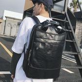 後背包 雙肩包 潮男街頭皮質背包 簡約休閒手提包 休閒戶外雙肩旅行包 行李包