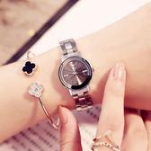 簡約時尚女士鋼帶時裝手錶學生表防水石英表學院風   遇見生活