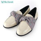 【Bo Derek 】格紋綁帶樂福鞋-米色