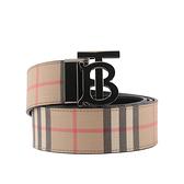 【BURBERRY】TB Logo 經典格紋雙面可用皮帶(米/黑色) 90.95.100.105cm/寬4cm 8042487