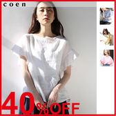 出清 罩衫 亞麻襯衫 荷葉袖 黃色上衣 約會 現貨 免運費 日本品牌【coen】