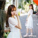 蕾絲洋裝 新款韓國蕾絲洋裝女學生短袖收腰顯瘦小清新中長款裙子LB12834【123休閒館】