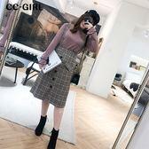 中大尺碼  毛呢排釦格紋吊帶裙 - 適XL~4L《 19469HH 》CC-GIRL